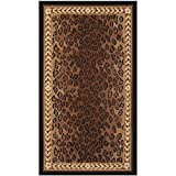 OTSK 2'9'' x4'9 Brown Black Leopard Dots Printed Runner Rug, Africa Themed, Indoor Graphical Pattern Living Room Rectangle Carpet, Soft Wool, Wild Animals Exotic Jungle Zoo Safari Outback