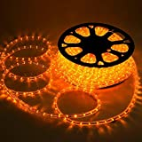 Yescom 50ft Saffron Yellow 2 Wire LED Rope Light Outdoor Home Holiday Valentines Party Restaurant Cafe Decor