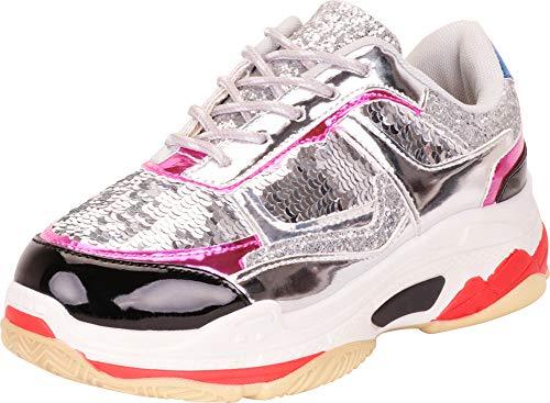 (Cambridge Select Women's Retro 90s Ugly Dad Lace-Up Chunky Platform Fashion Sneaker,8 B(M) US,Silver Metallic)