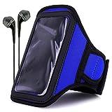 VanGoddy Neoprene Workout Armband for ZTE Maven / ZTE Obsidian / ZTE Paragon / ZTE Zephyr / ZTE Speed with Headphones & Wristband, Blue