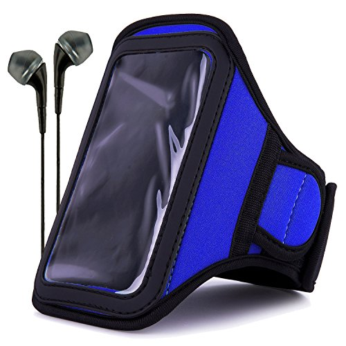 (VanGoddy Neoprene Workout Armband for Samsung Galaxy S4 / LG G2 / Apple iPhone 6 & 6s / Google Nexus 5 with Headphones & Wristband, Blue)