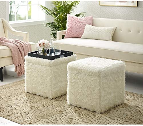 Inspired Home White Fur Ottoman