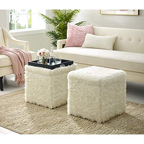 Inspired Home White Fur Ottoman – Design Lily Storage Space Cube Shaped Hidden Tray Top Modern Design