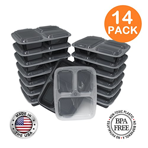 3 Compartment Meal Prep Containers with Lids, Food Storage Lunch Bento Box with Plate Dividers, US Made, 32 oz, Microwave & Dishwasher Safe, Stackable, Reusable, Black [14 - 3 Delivery Compartments Meal Tray