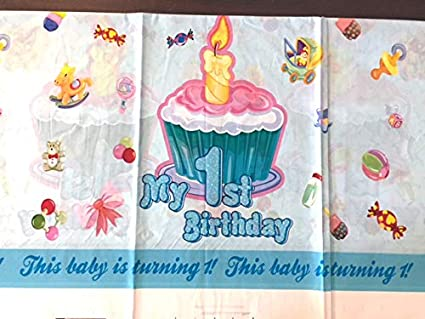 1st Birthday Cupcake Tablecover Party Decor Birthday Celebration Plastic Disposable Table Cloth Pink