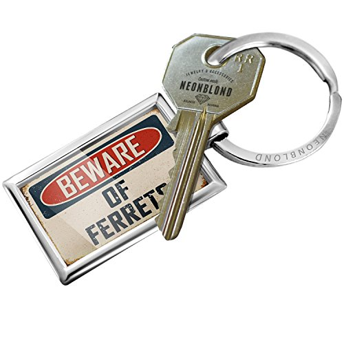 Keychain Beware Of Ferrets Vintage Funny Sign - NEONBLOND