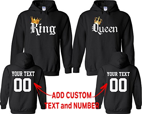 Name Valentine Sweatshirt (King Queen Color Pattern Customized Text Name Design Couple Hoodie Size Men L Women M)