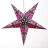 Pink Charm Paper Star Lantern with 12 Foot Power Cord Included