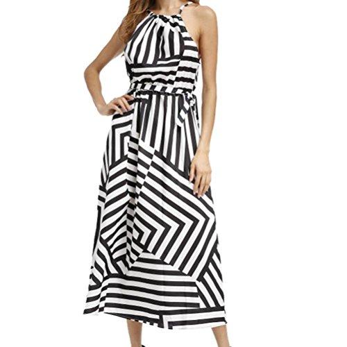 vovotrade Ajuste y llamarada O-cuello Mujeres cebra rayas verano boho maxi playa larga vestido sin mangas, negro, S M L XL