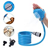 Hisung Pet Sprayer with 8Ft Massage Bristles and 2 Hose Adapters That Compatible for All Shower Bath Tub, Indoor/Outdoor Functionality Fo