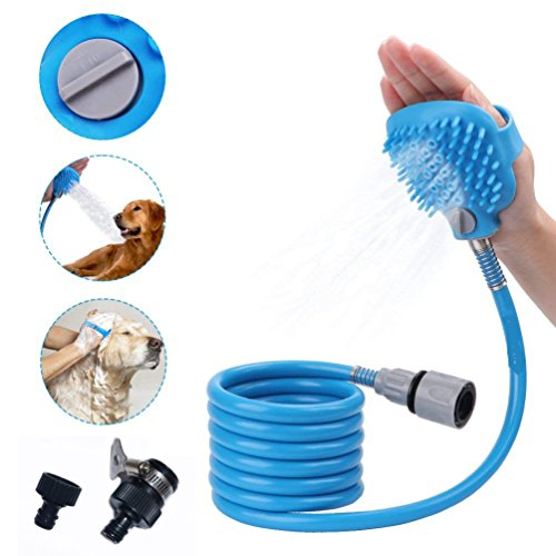 Hisung Pet Sprayer with 8Ft Massage Bristles and 2 Hose Adapters That Compatible for All Shower Bath Tub, Indoor/Outdoor Functionality Fo (Tub Shower Adapter)