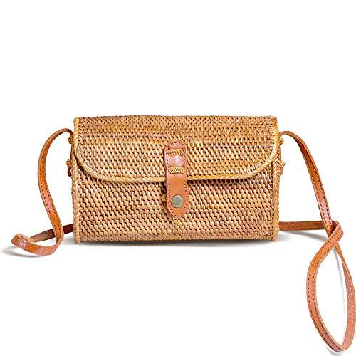 New Rattan Bags for Women - Handmade Wicker Woven Purse Handbag Circle Boho Bag Bali ()