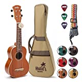 Hola! Music HM-121MG+ Deluxe Mahogany Soprano Ukulele Bundle with Aquila Strings, Padded Gig Bag, Strap and Picks, Natural