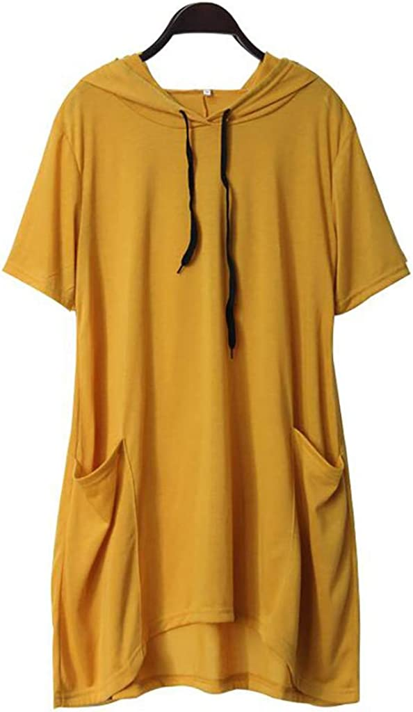 Womens Casual Solid Cat Ear Pocket Tunic Top Hooded Irregular Short Sleeve Blouse Shirt Sweatshirt