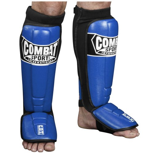 Combat Sports Pro-Style MMA Shin Guards, Blue, - Leather Instep Guards Pro Shin
