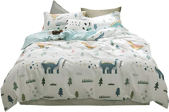 Soft Kids Duvet Comforter Cover Set Bed Sheet Set for Boys Girls,The Shadow of Dinosaur Animal Prints Black and White Bedding Sets Bedroom Decor,Include 1 Comforter Cover with 2 Pillow Cases Full