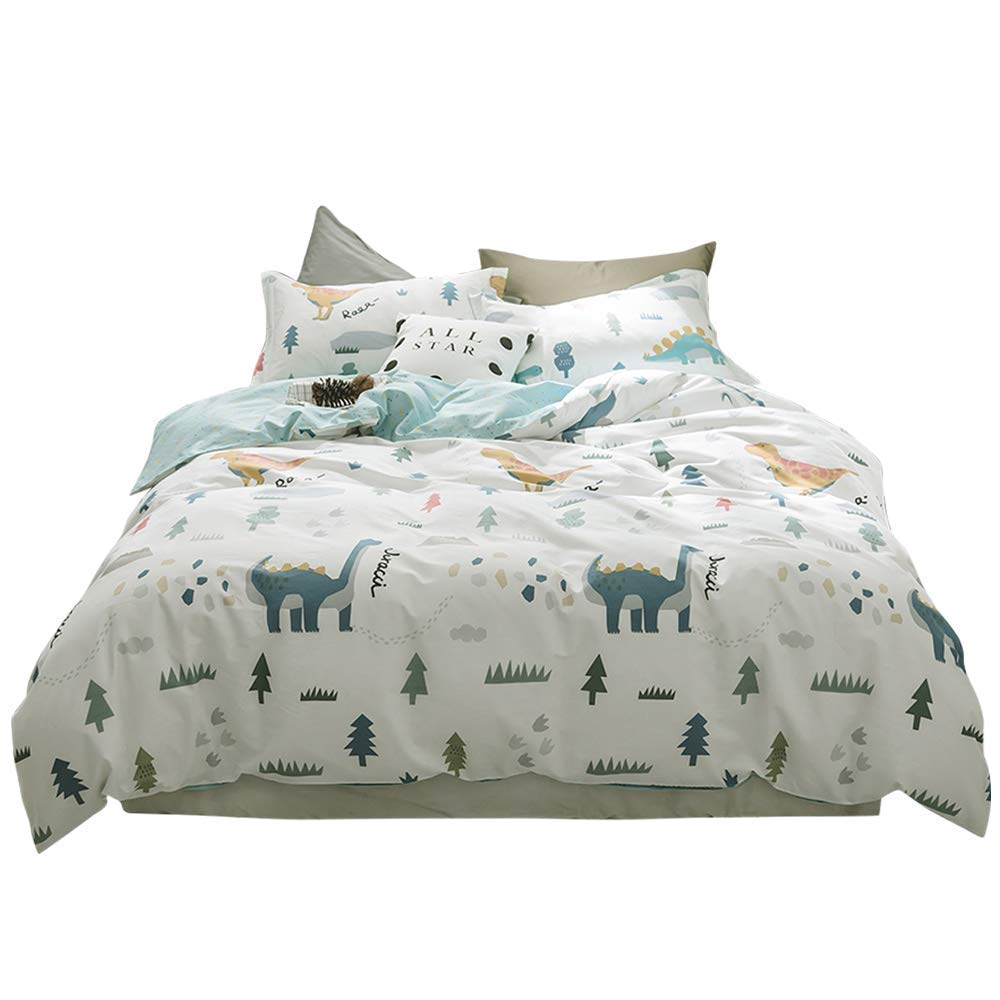 BuLuTu Dinosaur Queen Kids Duvet Cover White Boys Girls 100% Cotton,3 Pieces Premium Soft Reversible Dino Forest Print Teen Bedding Sets Full/Queen with Zipper Closure and Ties,Cute,No Comforter