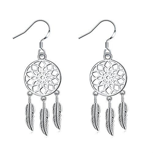 Sterling Silver Plated Dangle Earrings for Women Girls Dream Catcher Silver Drop Earring -