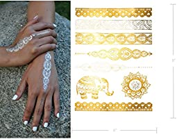 Large Temporary Metallic Tattoos - Over 50 Mehndi Mandala Designs ...