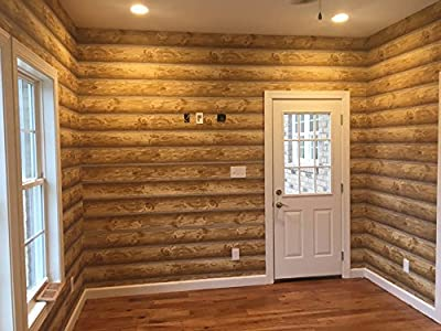 """Log Cabin Wallpaper Prepasted Double Roll 27""""x 324"""" Light to Medium Brown, York Wallcoverings ML-WOOD"""