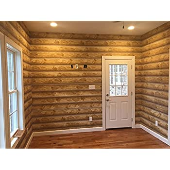 Log Cabin Wallpaper Prepasted Double Roll 27x 324 Light To Medium Brown York Wallcoverings ML WOOD