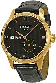 Tissot Le Locle Automatic Black Dial Black Leather Men's Watch