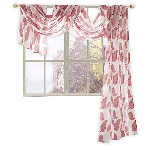 - KEQIAOSUOCAI Semi Sheer Luxury Window Scarf Sheer Voile Leaves Jacquard Curtain Scarf for Living Room,Dark Red, 52 by 144 inches Long