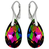 """Royal Crystals """"Made with Swarovski Crystals"""" Multicolored Teardrop Leverback Earrings"""
