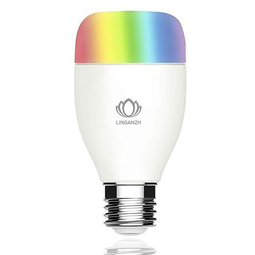 linganzh Wi-Fi Smart bombilla LED, ajustable, multicolor, intensidad regulable, no