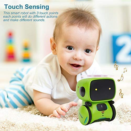 Yingtesi Smart Robot Interactive Toys for Age 3 Years Old Boys Girls Kids,Voice Command,Touch Control,Music and Sound Robotics Green by Yingtesi (Image #5)
