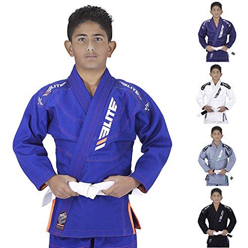Elite Sports IBJJF Ultra Light BJJ Brazilian Jiu Jitsu Gi for Kids with Preshrunk Fabric and Free Belt, C2, Blue