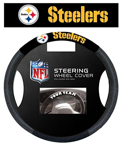 NFL Pittsburgh Steelers Poly-Suede Steering Wheel Cover Auto Accessories 15 x 15in by WinCraft