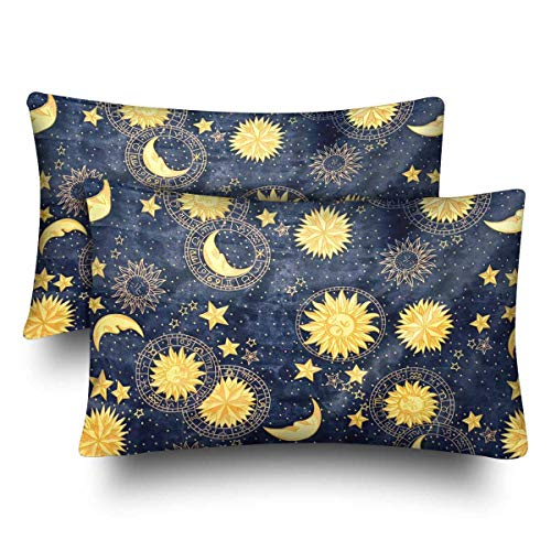 InterestPrint Colorful Retro Hobo Gloden Star Moon Sun Face Blue Sky Pillow Cases Pillowcase Queen Size 20x30 Set of 2, Rectangle Pillow Covers Protector Home Couch Sofa Bedroom Decoration -