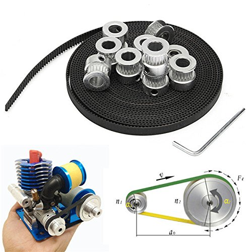 Mechanical Tensioner (8pcs GT2 20T Bore 8mm Timing Pulley with 5m Belt and Tensioner)