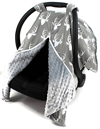 Dear Baby Gear Carseat Canopy, Antlers on Grey, Grey Minky (Seat Gear Baby)