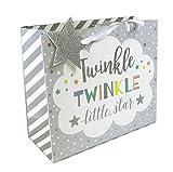 Medium New Born Baby Twinkle Star Gift Bag Shower Present Grey Glitter Boy Girl