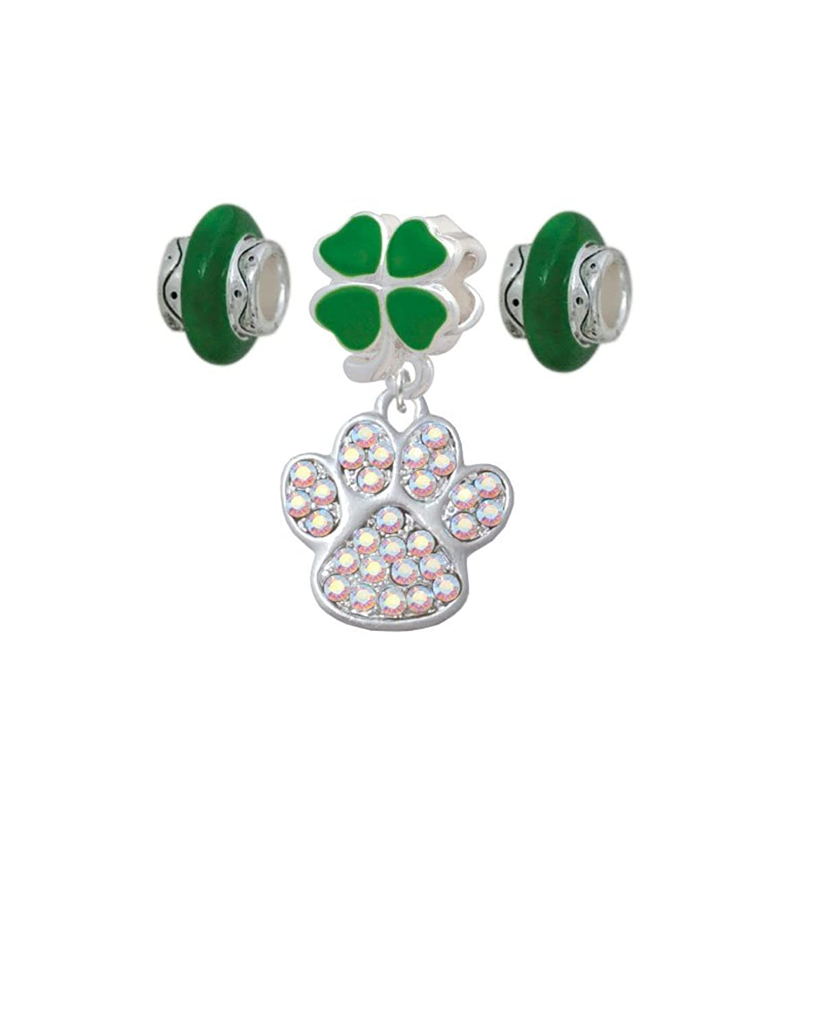 Large AB Crystal Paw Clover Charm Bead Hanger with Matching Beads (Set of 3)
