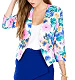 xiaoming Women Fashion Vintage Floral Open Front Slim Casual Blazer Suit Jacket