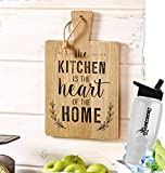 HomeCricket Gift Included- Rustic Country Farmhouse Cutting Board Kitchen Decorating Wall Hanging Decor Saying The Kitchen is the Heart Of Home + FREE Bonus Water Bottle by Home Cricket
