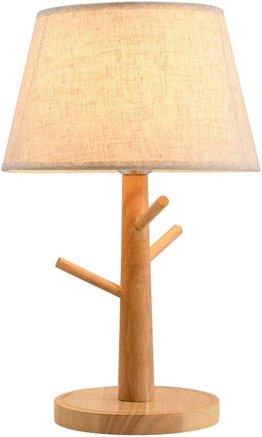 &Luz para Leer Lámpara de Mesa LED, Dormitorio de Madera Lámpara de Noche Decoración de la habitación del Hotel Lámpara de Mesa pequeña lámpara de Interruptor de botón Lámpara de Noche: Amazon.es: