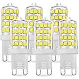 KINDEEP G9 LED Bulb Daylight White, 50W Halogen Bulb Equivalent, Not Dimmable, 5 Watts 450 Lumens (6000K, 6-Pack)