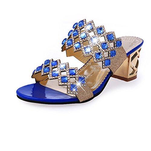 38 Fantaisie à Talons XING Femmes Pantoufles Diamant pour GUANG Summer Strass Pantoufles 40 Sandales Coréenne Cutout pour Green New pour Hauts Blue Femmes Femmes Chaussures xaSwvxqp