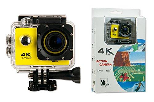 Camara Deportiva S6 4K AMARILLA 30cps WIFI Alta Definicion Videocamara Resistente al Agua 16MP Angulo de 170 grados Pantalla LCD de 2 pulgadas