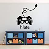 Gamer Wall Decal - Game Controller Sticker - Personalized Vinyl Decoration for Boy's Bedroom, Playroom or Game Room
