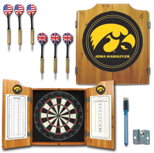 NCAA University of Iowa Wood Dart Cabinet ()