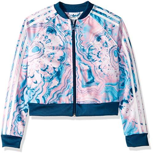 adidas Originals Girls' Big Marble Crop Short Sleeve Tee, Black, Medium