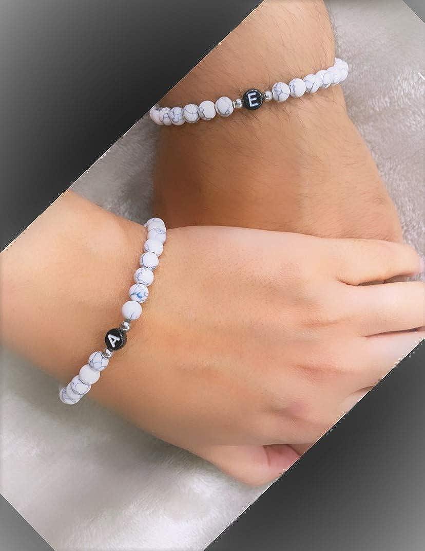weitere verf/ügbar individueller Schmuck f/ür Herren und Frauen Perlenarmband Partnerarmb/änder mit Onyx Perlen Personalisierte Namensarmb/änder