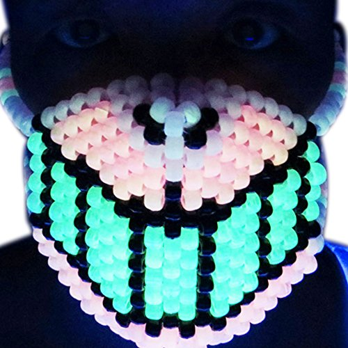 Kandi Gear - Glow in the Dark Cheshire Grin Cat Kandi Bead Mask, Rave - Cat Kandi
