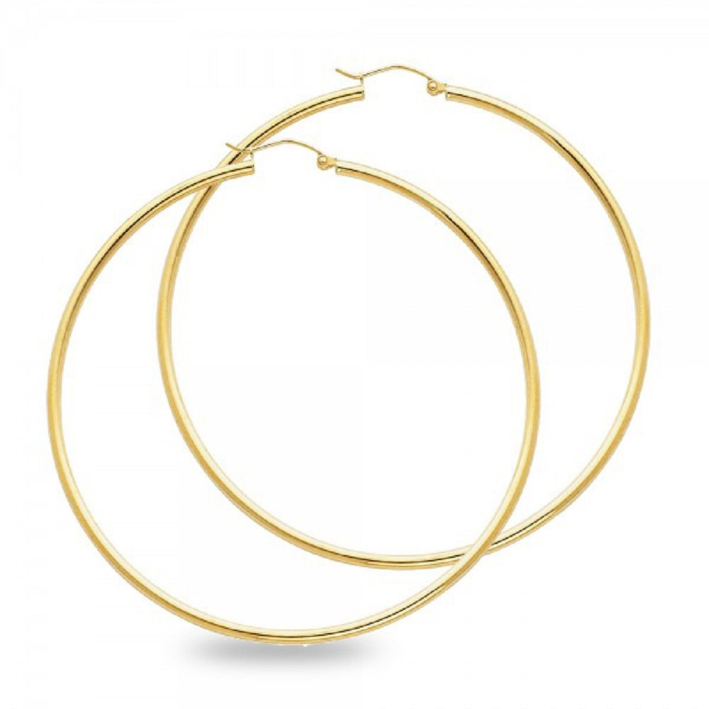 Solid 14k Yellow Gold Big Round Hoop Earrings Polished Finish French Lock Genuine Classic 65 x 2 mm