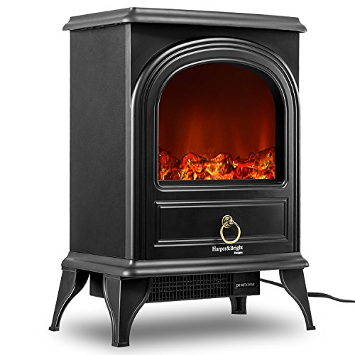 Harper Bright Designs Electric Fireplace Stove Heater Portable Fireplace Black